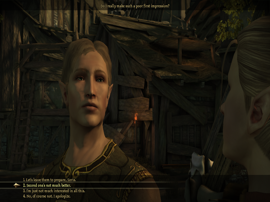 No, I didn't actually choose this dialogue option. It was so very, very tempting, though.