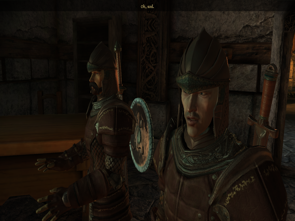 Suddenly, both of these guards become very acutely aware of their 'Minor NPC' status.