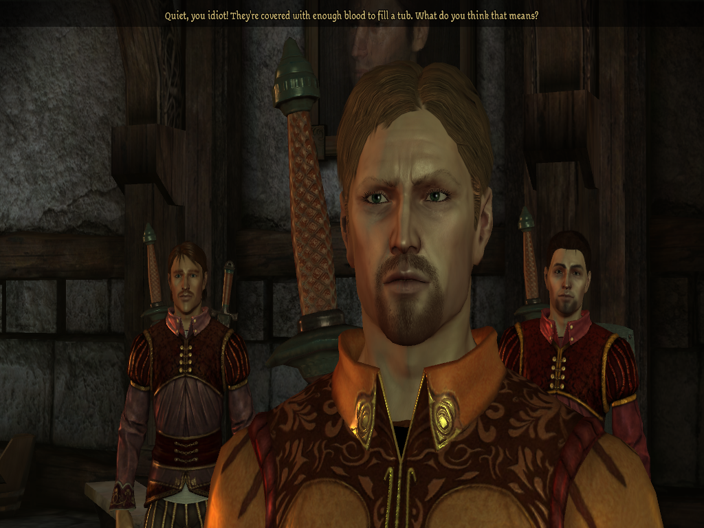 Dragon Age doesn't do grey names for significantly weaker foes, but if did, these two losers would have them.